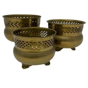 Set of 3 Brass~Gold Colored Decorative Bowls~